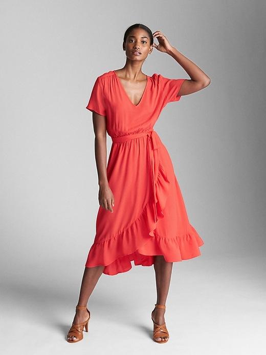 Wrap Ruffle Midi Dress by Gap