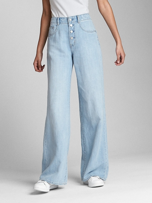 Wearlight High Rise Wide Leg Jeans With Button Fly by Gap