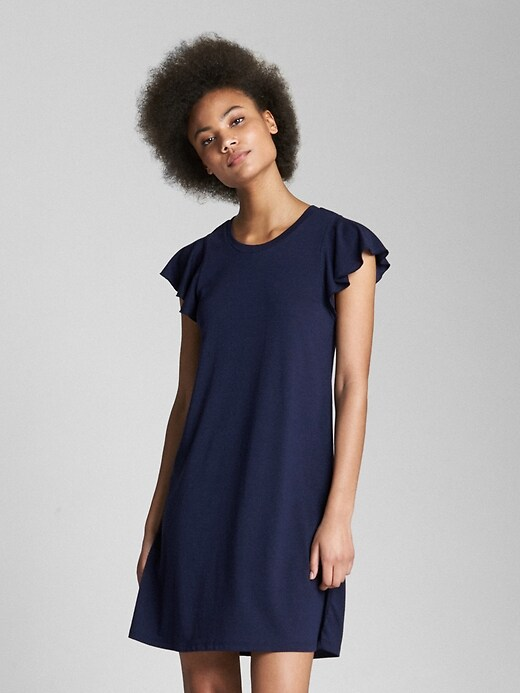 Softspun Flutter Sleeve Swing Dress by Gap