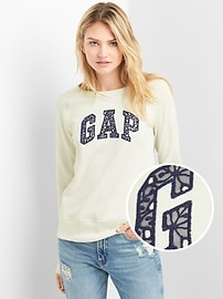 Lace Logo Pullover Crewneck Sweatshirt in French Terry