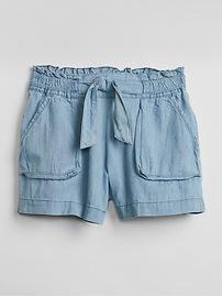 """3.5"""" Paperbag Waist Denim Shorts"""