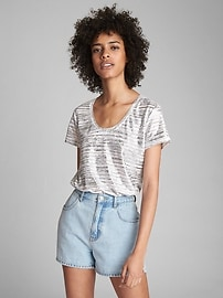Stripe Linen Scoop Neck T-Shirt