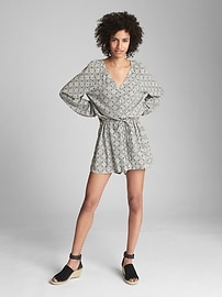 Long Sleeve Button-Front Romper