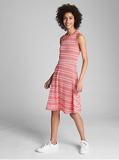 Sleeveless Ribbed Stripe Fit and Flare Midi Dress