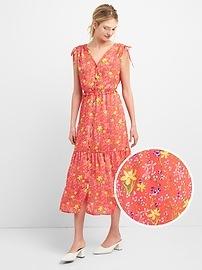 Floral Print Tiered Midi Dress