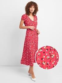 Robe portefeuille mi-longue avec imprimé à fleurs