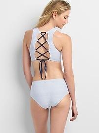 Stripe high-neck criss-cross bikini top