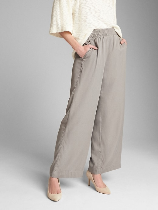 Wide Leg Pants With Smocked Waist In Tencel™ by Gap