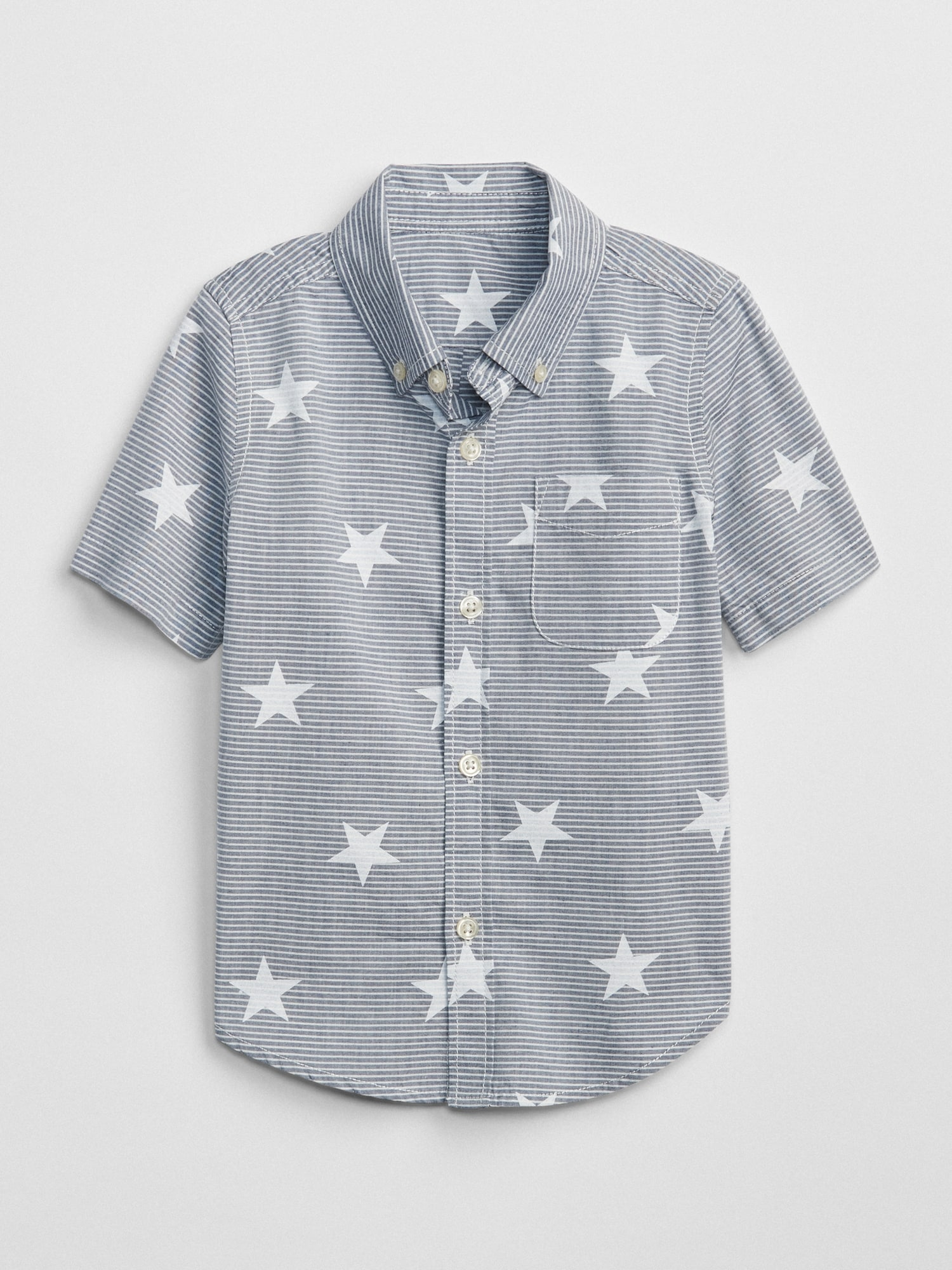 70258f356906 Print Short Sleeve Button-Down Shirt