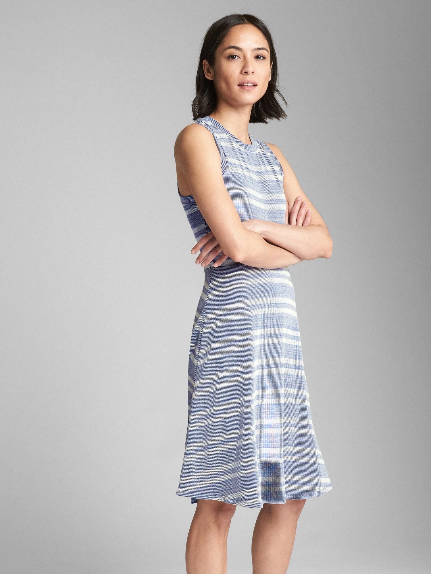 8be668aa2d33b Sleeveless Ribbed Stripe Fit and Flare Midi Dress