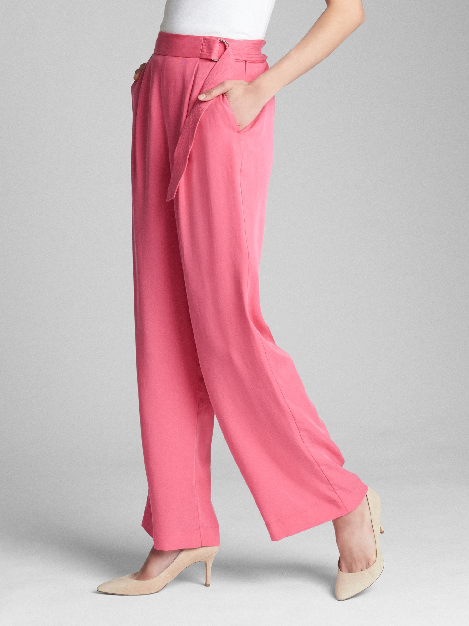 High Rise Belted Wide Leg Pants In Tencel™ by Gap