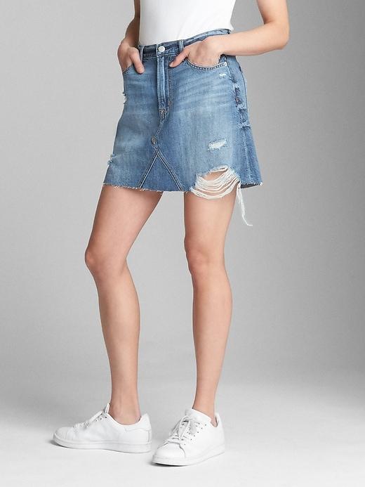 Denim Mini Skirt With Destruction by Gap