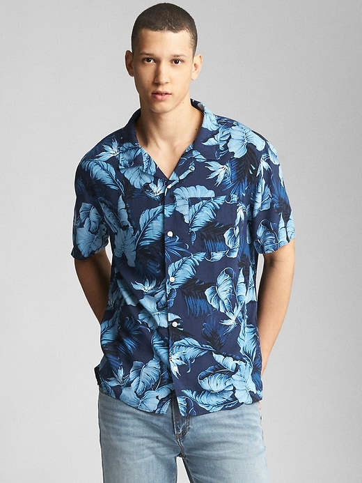 Standard Fit Tropical Print Short Sleeve Shirt by Gap