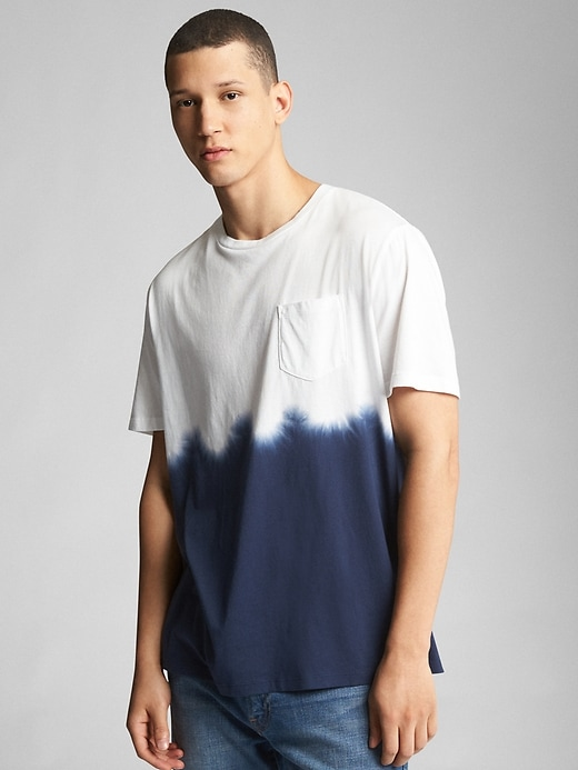 Tie Dye Pocket Crewneck T Shirt by Gap