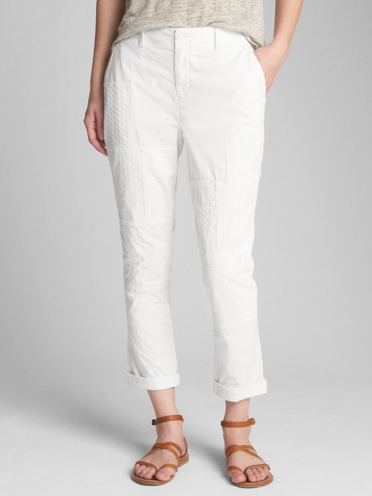 154019c1668 Girlfriend Chinos with Eyelet Patch Detail
