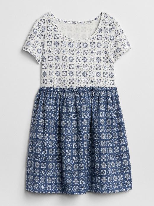 Mix Fabric Wrap Back Dress by Gap