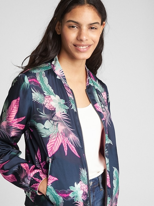 Reversible Floral Print Bomber Jacket by Gap