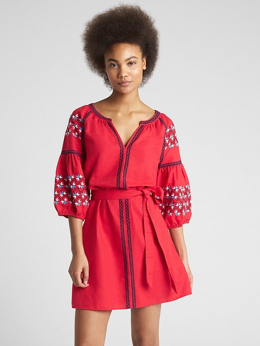 Embroidered Balloon Sleeve Tie Belt Dress In Linen Cotton by Gap