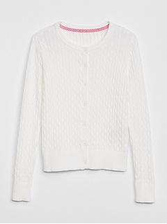 Uniform Cable-Knit Cardigan Sweater