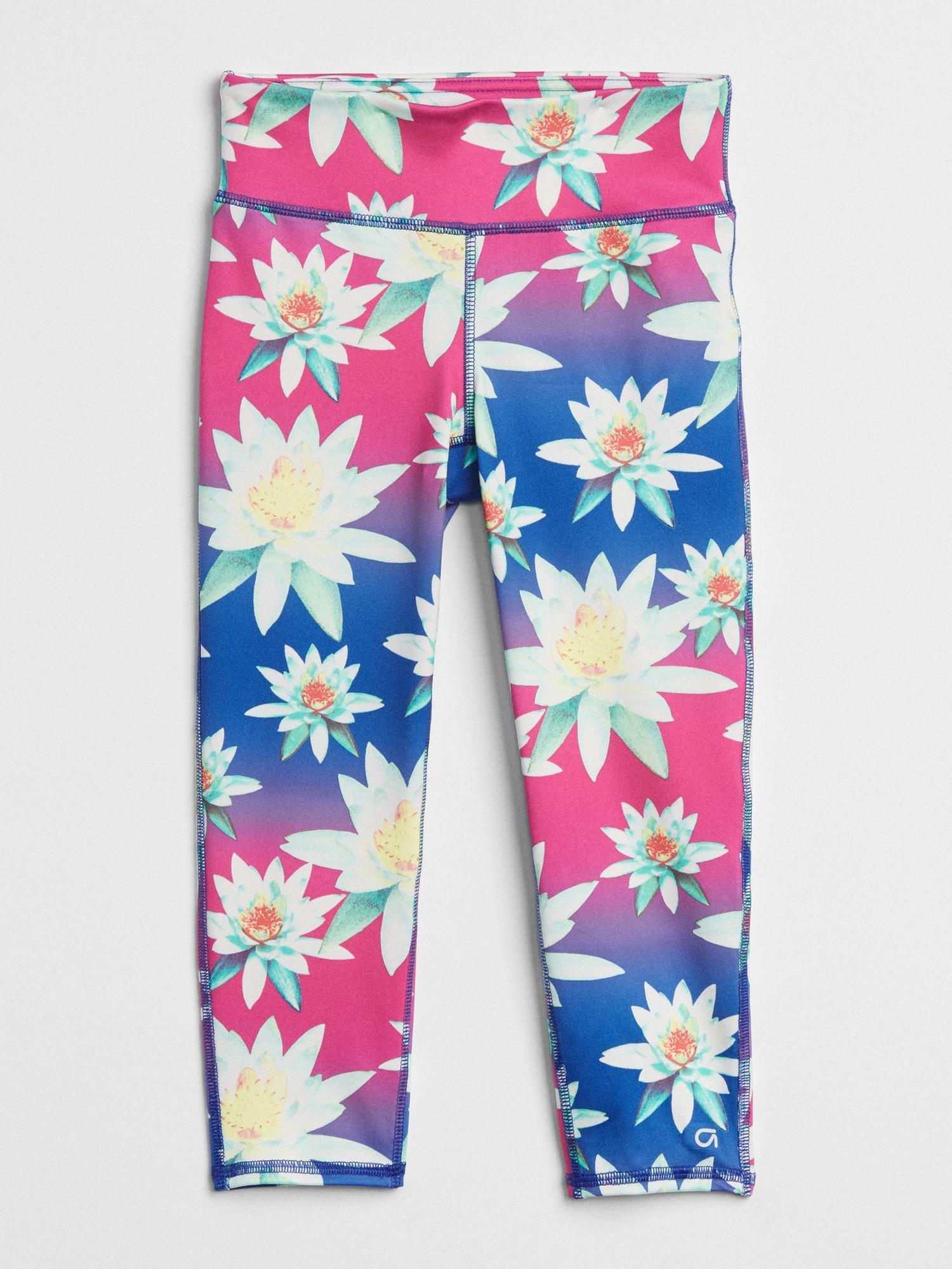 31cf8bac6e656 GapFit Kids Floral Crop Leggings | Gap