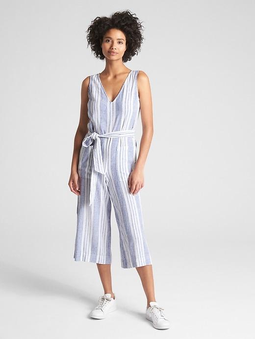 Sleeveless Tie Belt Stripe Jumpsuit In Linen by Gap