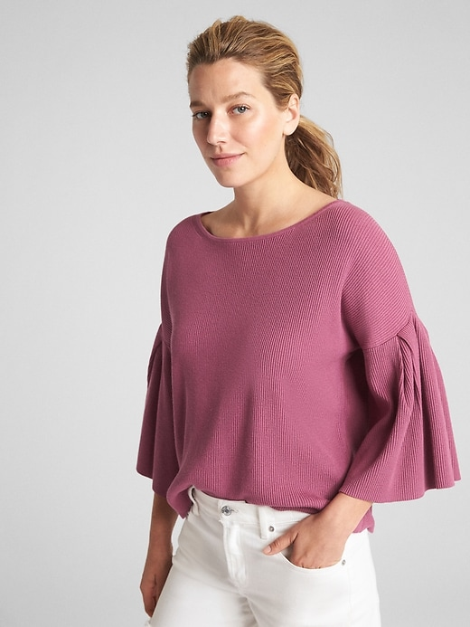 Ribbed Flutter Sleeve Sweater In Silk Cotton by Gap