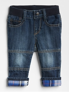 Plaid-Lined Seamed Straight Jeans