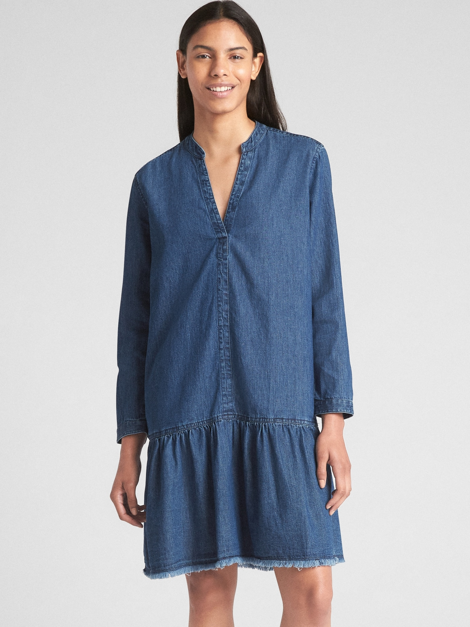 9b38471bc5298 Long Sleeve Popover Drop Waist Dress in Denim