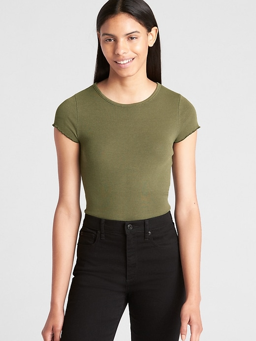 Featherweight Ruffle Sleeve Ribbed T Shirt by Gap