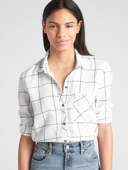 drapey-plaid-flannel-shirt by gap