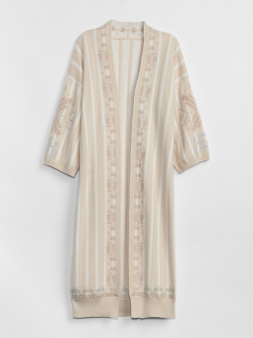 Embroidered Stripe Kimono Duster Sweater by Gap