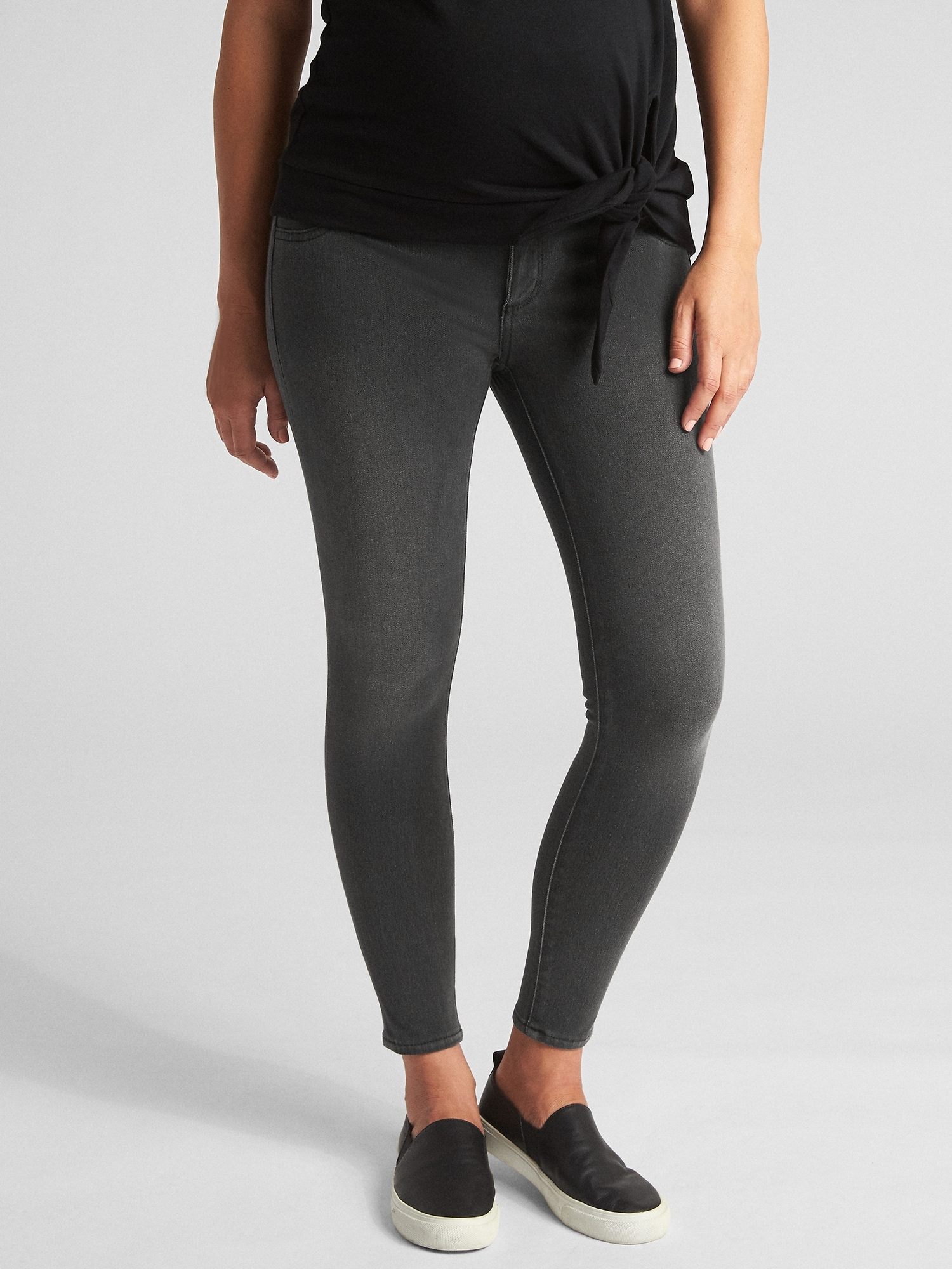 c0a332f36e Maternity Inset Panel Knit Favorite Ankle Jeggings | Gap