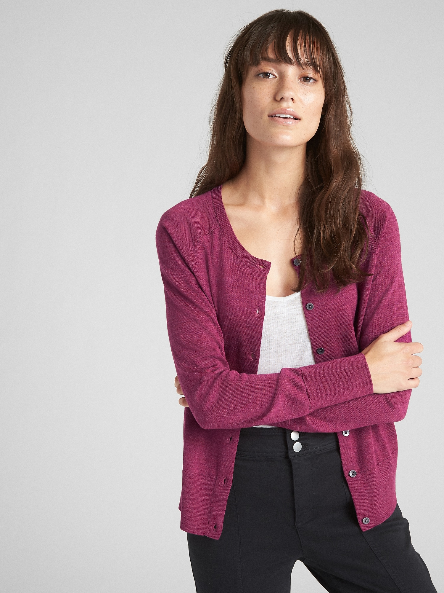 b2eca1fd2 Crewneck Cardigan Sweater in Merino Wool