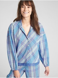 Dreamwell Plaid Long Blouson Sleeve Top