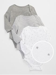 Cache-couche à manches longues à motifs d'étoiles pour bébé (paquet de trois)