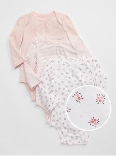 Cache-couche à fleurs à manches longues (paquet de trois) pour bébé