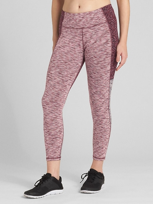 G Fast Mid Rise Colorblock Spacedye 7/8 Leggings In Blackout by Gap