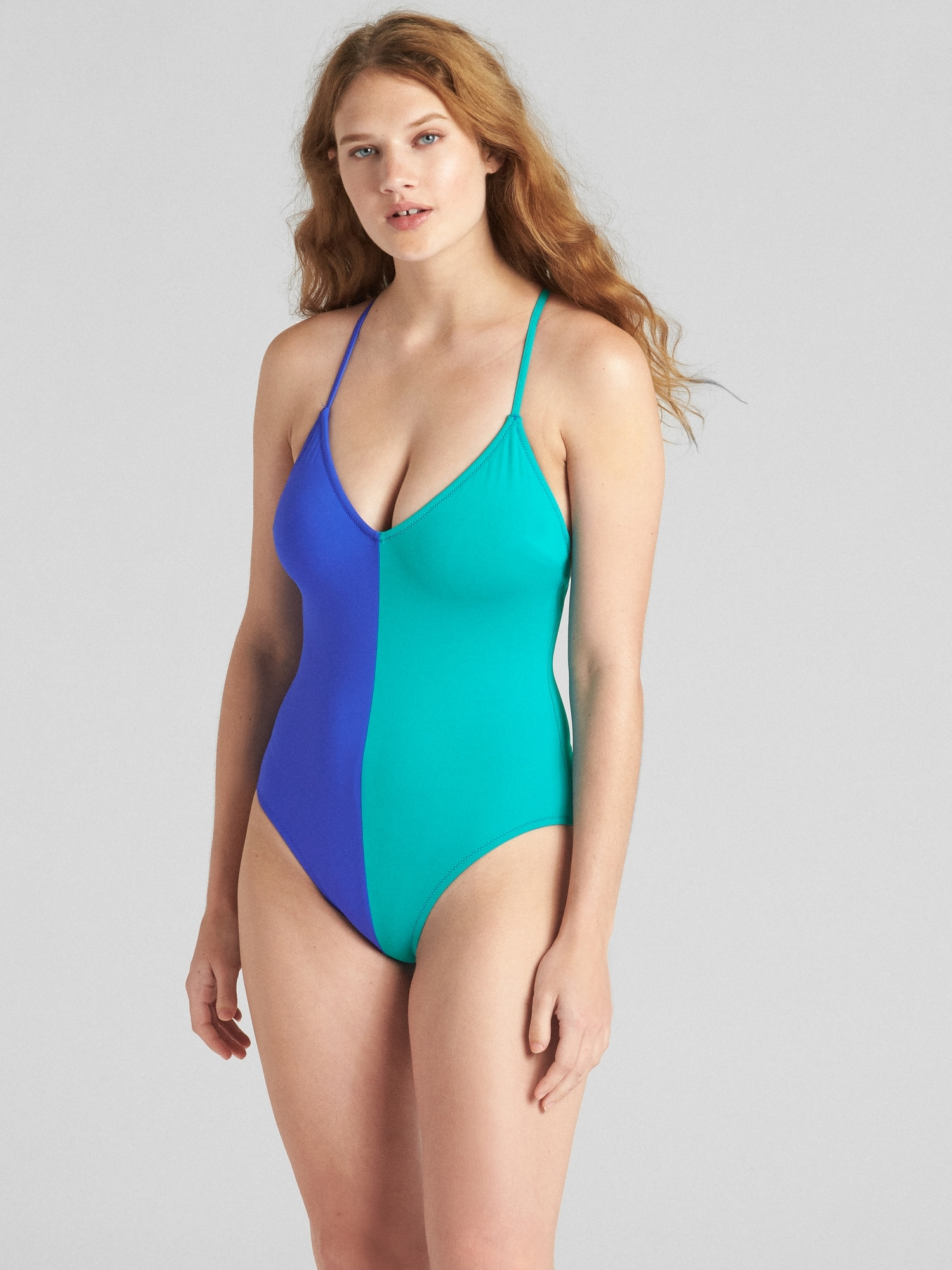 0b2f518162 Colorblock Strappy V-Neck One-Piece Suit