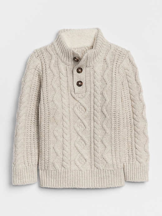 Cable Knit Henley Sweater by Gap