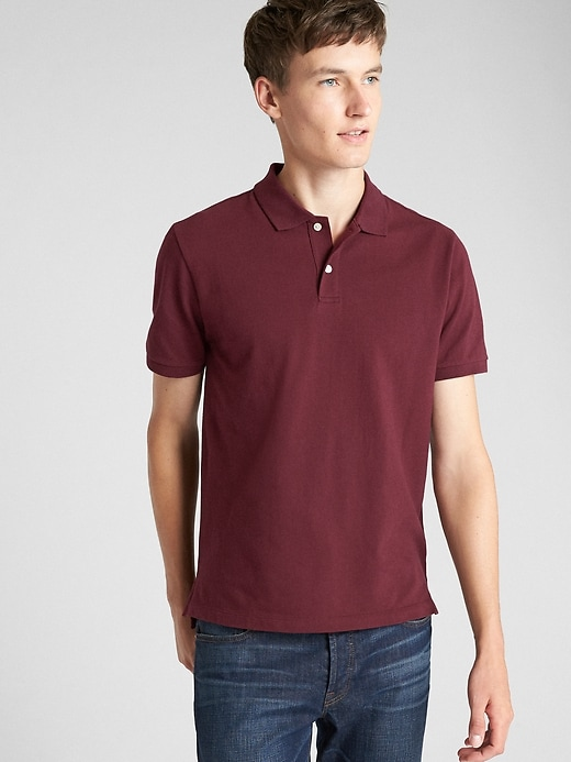 Short Sleeve Pique Polo Shirt In Stretch by Gap