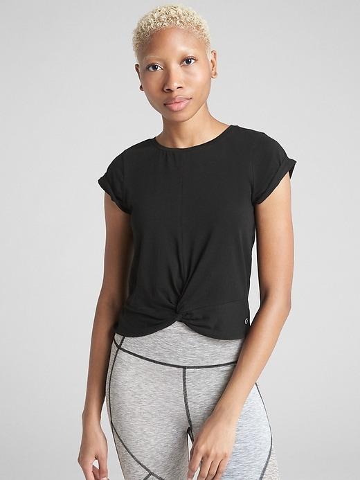 Gap Fit Twist Front Crop T Shirt In Supima Cotton by Gap