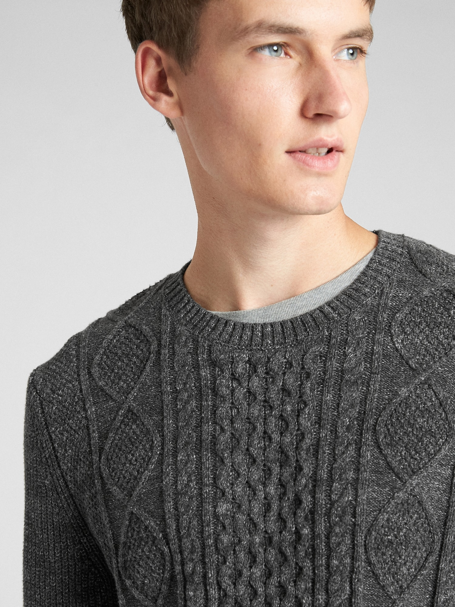 Cable-Knit Crewneck Pullover Sweater  a878c0dbc