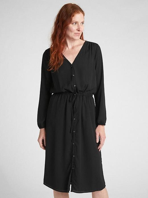 Long Sleeve Button Down Midi Dress by Gap