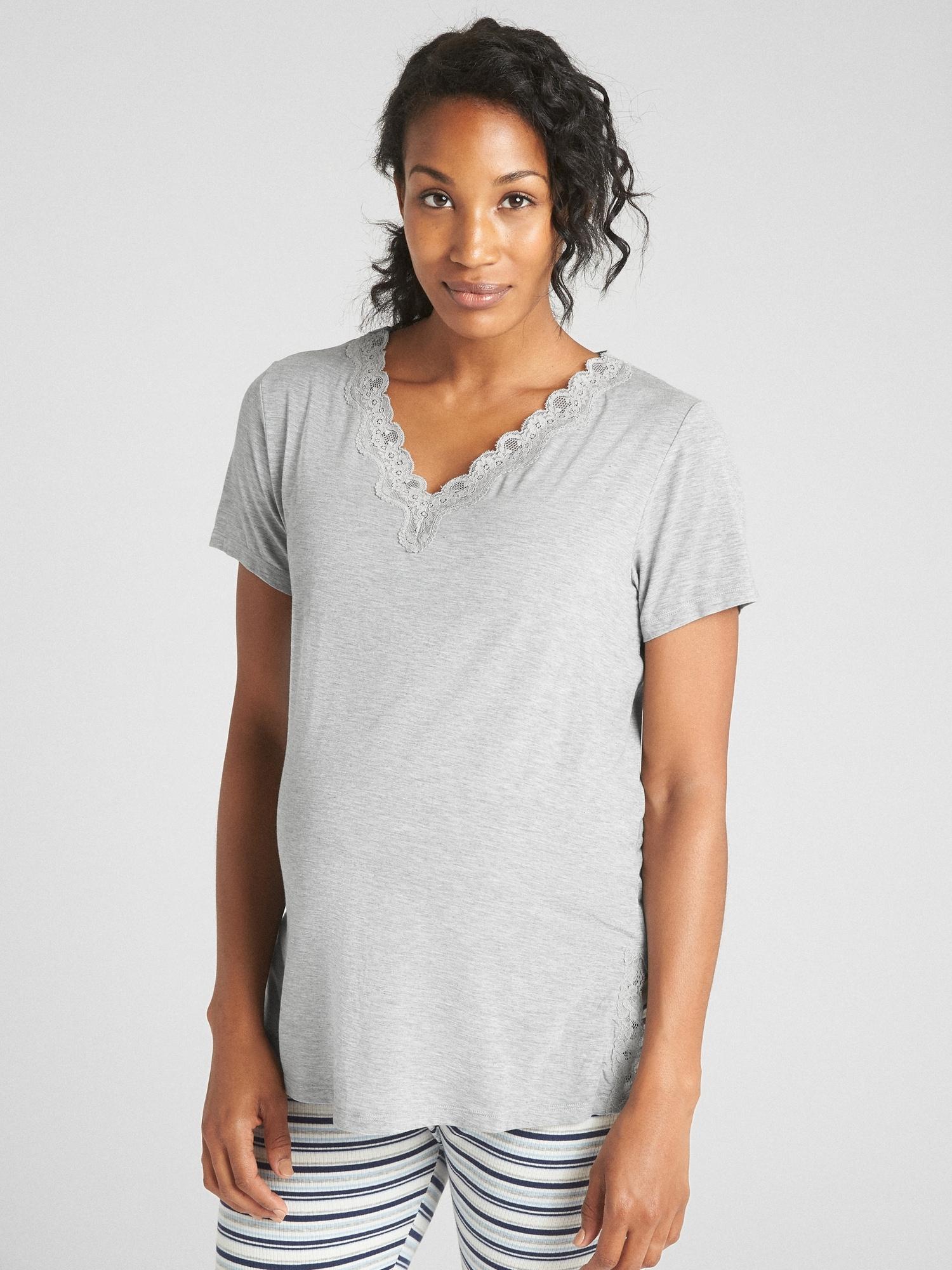 6d211781ef331 Maternity Lace-Trim Sleep T-Shirt in Modal