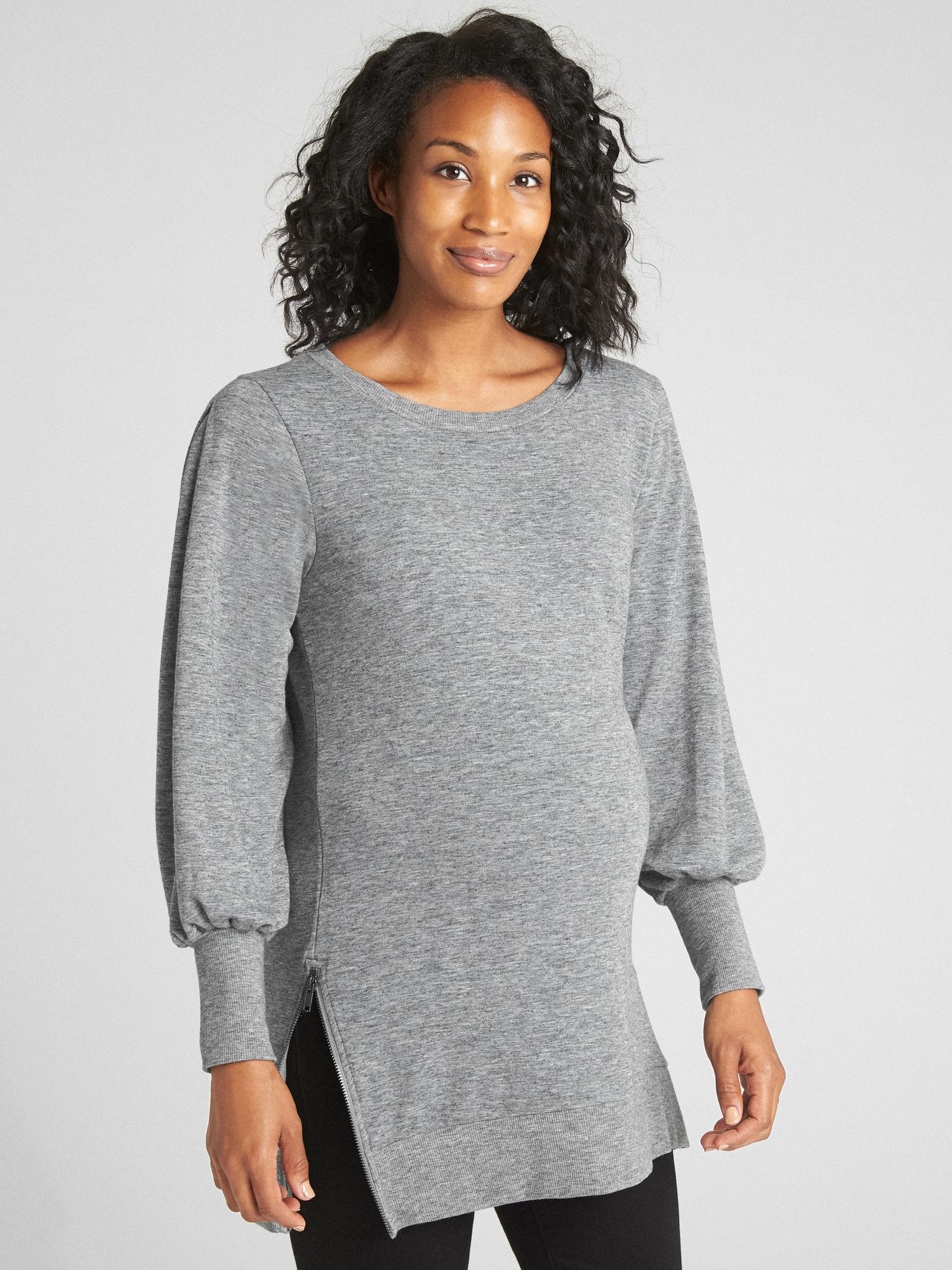 8d1713b57996b Maternity Balloon Sleeve Side-Zip Pullover Sweatshirt | Gap