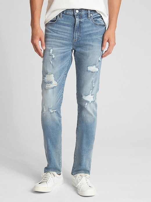 Distressed Jeans In Skinny Fit With Gap Flex by Gap