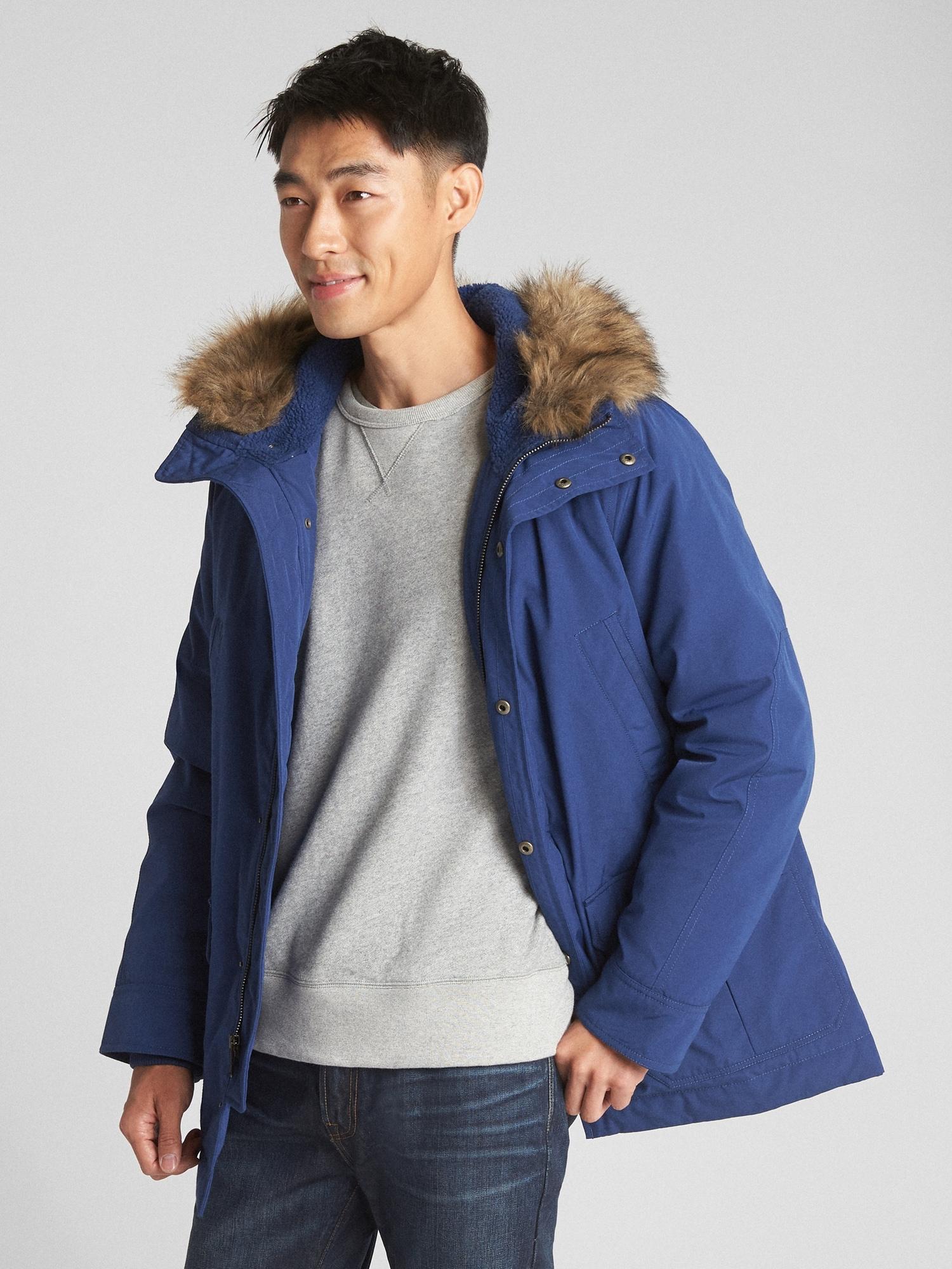 d962973c13c0b Hooded Down Parka Jacket with Faux-Fur Trim