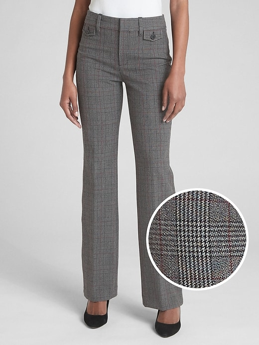High Rise Baby Boot Plaid Trousers by Gap