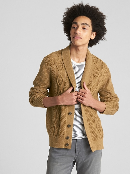 Cable Knit Shawl Cardigan Sweater by Gap