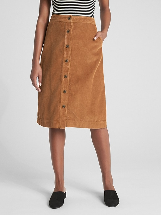 Button Front Cord Midi Skirt by Gap